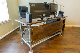 Diy Pipe Desk Wood Paneled Industrial Pipe Desk Home Office Pinterest