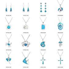 blue opal necklace natural blue opal wholesale cross pendant bulk sale silver