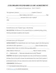 rental lease agreement word template free colorado standard residential lease agreement template pdf