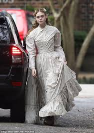 nicole kidman sports western dress for beguiled with elle fanning