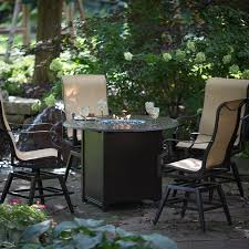 Solid Cast Aluminum Patio Furniture by Black Solid Cast Aluminum Frame Outdoor Dining Table With Fire Pit