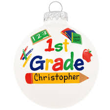 personalized 1st grade glass ornament penned ornaments