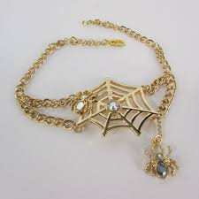 gold strap metal boot bracelet chain mini spiders net web shoe