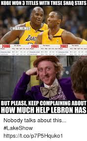 Kobe Bryant Injury Meme - kobe won 3 titles with these shaq stats 2000 2001 per game 2002