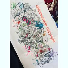 alice in wonderland sleeve tattoo design by tattoosuzette on