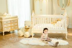 ak29 luxury wooden baby crib royal golden hand carving new born