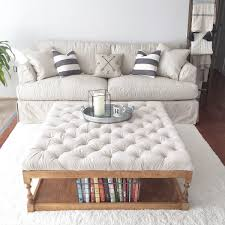 padded coffee table cover rack bookshelf storage built in under diy tufted ottoman coffe table