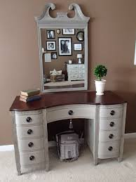 art deco white stained solid wood vanity table decor with dark