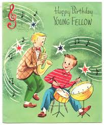 happy thanksgiving e cards 1950s vintage birthday greeting card with teen boys playing music