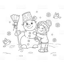 coloring outline cartoon boy snowman stock vector art