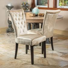 set of 2 dining room champagne velvet dining chairs w tufted