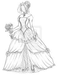 wedding dress anime gown anime pencil and in color gown anime