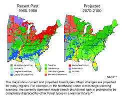 United States Climate Regions Map by Projected Shifts In Forest Types Global Climate Change Impacts
