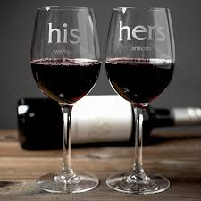his hers wine glasses personalised set of 2 wine glasses his and hers