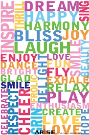 happy words 12 x18 color positivity poster 54 arise