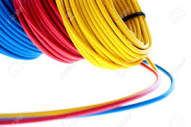 electric wires of red yellow and dark blue colour are winded