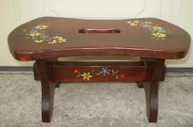 kitchen furniture collectibles vintage rustic hand painted folk art solid wood step stool