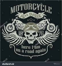 motorcycle t shirt design skull with a rider helmet racing