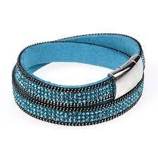 leather rhinestone bracelet images Buy wholesale white crystal wrap leather bracelets bangles jpg