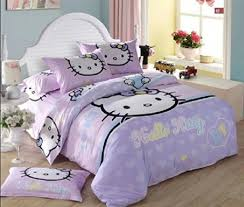 lilac colored bedding set and soft blue wall color for enchanting