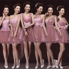 2016 new cheap junior bridesmaid dresses short lace tulle bows