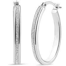 oval hoop earrings sterling silver oval glitter hoop earrings walmart