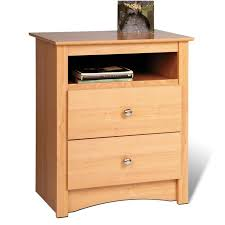 bedroom solid wood tall nightstand with storage drawers and shelf