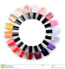 coloured nail polish bottles stacked circle royalty free stock