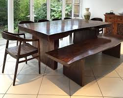 Wooden Furniture For Dining Room Bespoke Suar Dining Table Stained Dark With Matching Suar Bench