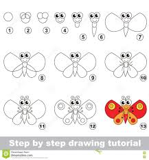 butterfly drawing tutorial stock vector image 79673795