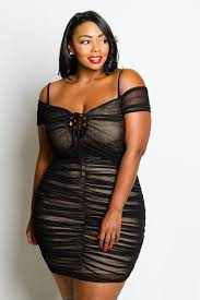 plus size off shoulder ruched see through mesh dress