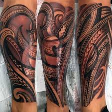 collection of 25 polynesian leg tattoos for