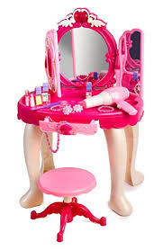 Childrens Vanity Tables Amazon Com Pink Princess Make Up Vanity Table For Little Girls