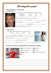esl worksheets for beginners describing famous people