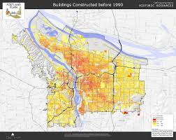 Map Of Portland Building Construction Date Map 1990 Vintage Portland