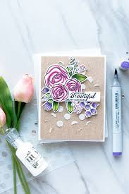 simon says stamp floral birthday card with sketch ranunculus