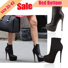 stylish womens motorcycle boots fashion rivet ankle strap side zip platform high heels women