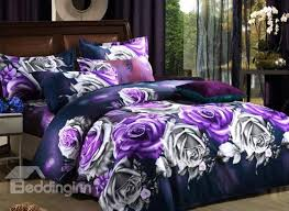 3d Bedroom Sets by Purple And Monochrome Roses Print Polyester 3d Bedding Sets