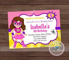 Superhero Invitation Card Superhero Spider Party Invitation Pink Spider