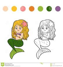 coloring book for children little mermaid stock vector