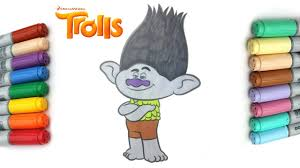 learn how to color branch from trolls by dreamworks coloring page