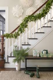 interior lighted garland decorations for stairs
