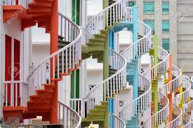 singapore at bugis village spiral staircases stock photo picture