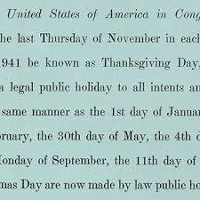 thanksgiving bill us house of representatives history