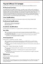 Resume Core Qualifications Examples by Payroll Officer Cv Sample Myperfectcv