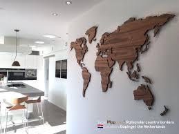World Map Wood Wall Art by World Map Palisander Country Borders Mapawall Com