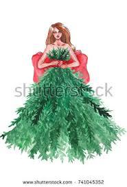 christmas tree woman dress fashion model stock photo 335108177