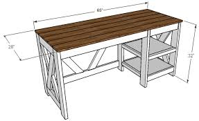 Diy Home Office Desk Plans Farmhouse X Office Desk Handmade
