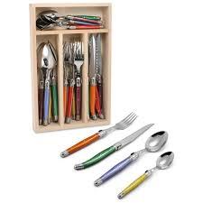 Laguiole Kitchen Knives Laguiole Debutante Multicoloured Cutlery Set 24pce Peter U0027s Of