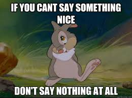 Nothing To Say Meme - if you cant say something nice don t say nothing at all thumper